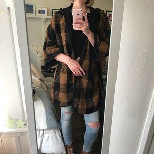 Plaid Sweater with Hood
